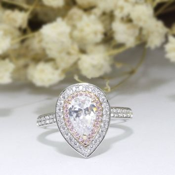 Pear Cut 1.5ct 6x9mm Esdomera Moissanites Double Halo Pink Pave Accents 14k White Gold Engagement Ring (CFR0826-MS1.5CT)