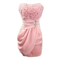 LaLaMa Womens Sexy Prom Evening Party Bandeau Cocktail Mini Chiffon Dress