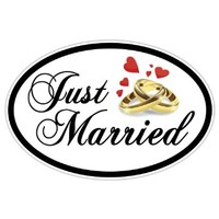 Just Married Oval Car Door Magnet - 2 in Set