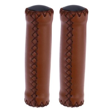 1Pair PU Leather and Soft Rubber Bicycle Beach Cruiser Mountain Bike Handlebar Grips (Light Brown)