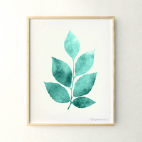 Leaves decor, Nature art 11x14 Teal art, Home decor art print, Living wall decor, Digital printable art print, Aqua decor, Poster printable