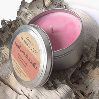 Soy Candle - Sweet Pea & Vanilla scented Soy Candle Tin -- 8 ounce Tin