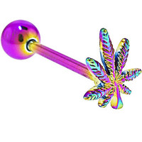 Rainbow Titanium Anodized 3-D POT LEAF Barbell Tongue Ring | Body Candy Body Jewelry