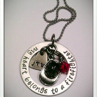 JBK Custom hand stamped My Heart Belongs to a Firefighter necklace