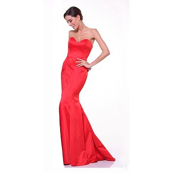 Cinderella Divine 8792 Strapless Sweetheart Neckline Mermaid Satin Full Length Gown Red