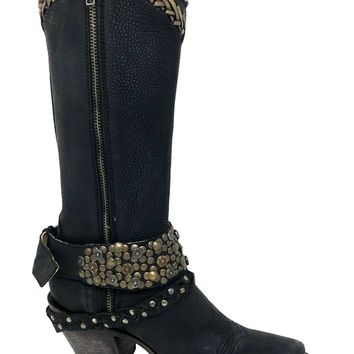Corral Black Woven/Studs/Harness Narrow Square Toe Boots