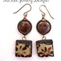 Brown Ceramic drops with stone and copper metal earrings.