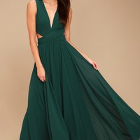Vivid Imagination Forest Green Cutout Maxi Dress