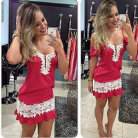 Fashion Women Casual Short-sleeved Pparty Vintage Off the Shoulder Red Dress with White Lace = 5739034433