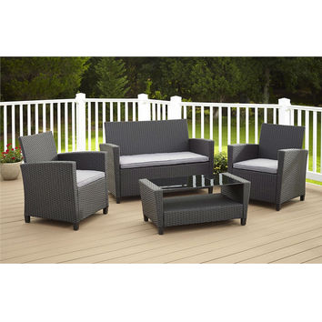 4 Piece Outdoor Patio Furniture Set in Grey Resin Wicker & Cushions