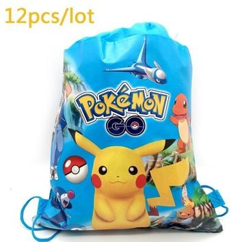 12PCS  Go Cartoon Mochila Baby Shower Boys Favors Non-woven Fabric Drawstring Gifts Bags Birthday Party Pikachu BackpackKawaii Pokemon go  AT_89_9