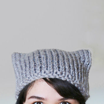 Cat Ear Knit Hat in Grey