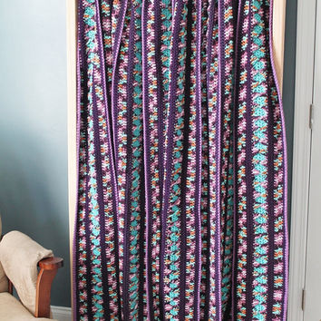 Afghan - Handmade Crochet Queen Size Blanket - Purple and Turquoise