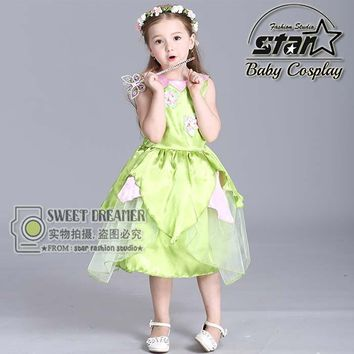 Halloween Costumes for Girl The Wizard Oz Green Forest Woodland Elf Fairy Costume Tinkerbell Garden Fairy Cosplay Dress