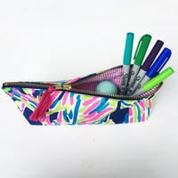 "Lilly Pulitzer Fabric Pencil Pouch in Blue Plam Reader with Seersucker Interior- To Monogram You Must Purchase the listing ""Momogram Add-On"""