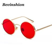 Metal Round Korea Cool Vintage Steampunk Sunglasses Women Red Yellow Lens Color Punk Sun Glasses Men Harajuku Style Retro 2018