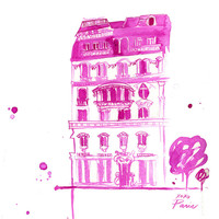 Watercolor Travel Illustration - XoXo Paris print