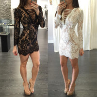 ♡ Bandage Long Sleeve Floral Lace Sexy Party Night Club ♡