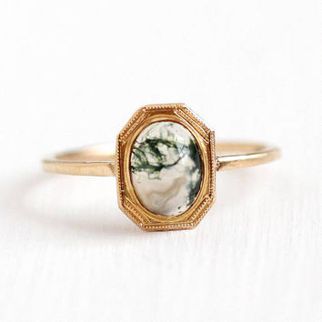Moss Agate Ring - Vintage 14k Rosy Yellow Gold Stick Pin Conversion - Antique Edwardian Size 6 Edwardian Era White Green Gem Fine Jewelry