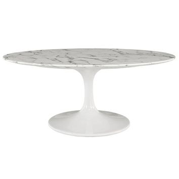 "DAENA 42"" OVAL-SHAPED ARTIFICIAL MARBLE COFFEE TABLE IN WHITE"