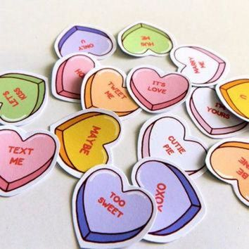 CREYONB Stickers love conversation heart candy - pack of 15
