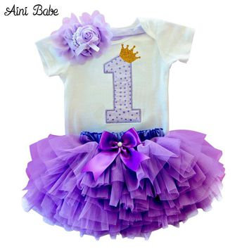 Newborn Baby Girl Clothes Dress Toddler Girls First Birthday Outfits Baby Bodysuit/Romper Tutu Headband Dresses vestido bebes