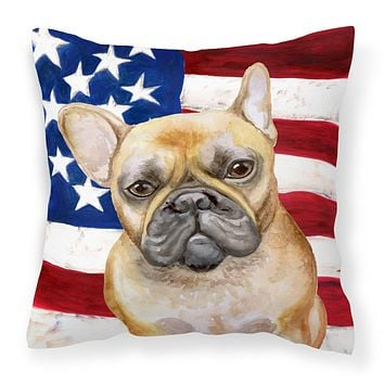 French Bulldog Patriotic Fabric Decorative Pillow BB9688PW1818