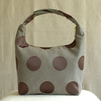 Lunch Bag Insulated, Handmade Small Purse, Lunch Tote, School Lunch Bag, Fabric Lunch Bag, Work Lunch Bag,Big Brown Pink Polka Dot