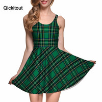 TARTAN GREEN REVERSIBLE SKATER DRESS