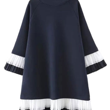 Navy High Neck Contrast Ruffle Shift Dress