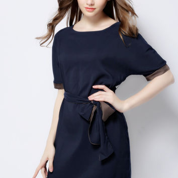 Navy Short Sleeve Bow Belted Mini Shift Dress