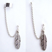 Single Large Feather Chain with Double Piercing or Earring Cuff, SAN-391