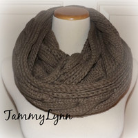 NEW!! Mocha Brown Cable Knit Infinity Scarf Sweater Style with Braid Detail Winter Womens Accessories