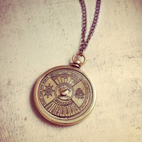 Vintage Style Nautical 50 Year Calendar Pendant Necklace Really WORKS Nautical Antique Brass Bronze CHAIN INCLUDED 127