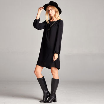Classic Solid Shift Dress