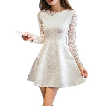 Spring Summer Women Lace Casual Dress Long Sleeve Korean Party Dresses Vestido White Black Pink Mini Dress Robe Dentelle