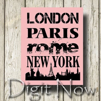 London Paris Rome New York Quotes Print Poster Customizable Wall Decor F13060
