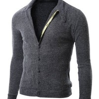 Doublju Mens Cardigan Sweater with Button Up   NAVY (US-L)