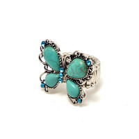 Turquoise Butterfly Ring with Aqua Blue Rhinestones Color: Turquoise