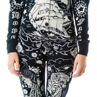 Too Fast Tattooed Skelly Footed Pajamas Black
