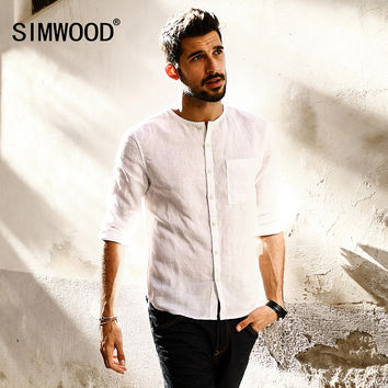 Spring Summer New Casual Men Shirts Long Sleeve O neck 100% Pure Linen Slim Fit clothing