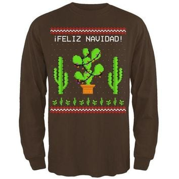 PEAPGQ9 Cactus Desert Feliz Navidad Ugly Christmas Sweater Mens Long Sleeve T Shirt