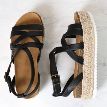 Strappy Sporty Espadrille Flatform Sandal Wedges In Black