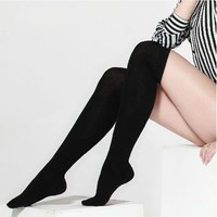 Black Solid Knee Socks Thigh High