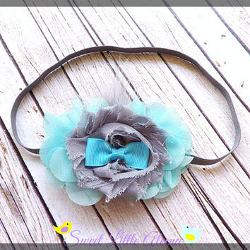 Aqua Gray Feather Hairband, Baby Bows for Fall, Hair Bow Headband, Toddler Girl Hair Clip, Autumn Infant Headband, Flower Hair Accessories