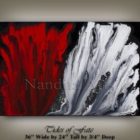 """36"""" MODERN ABSTRACT PAINTING Red White Art on Canvas Contemporary Art Artwork Decor Art Gallery by Artist Nandita Fast Shipping"""