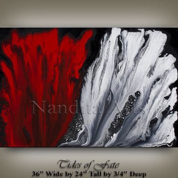 "36"" MODERN ABSTRACT PAINTING Red White Art on Canvas Contemporary Art Artwork Decor Art Gallery by Artist Nandita Fast Shipping"