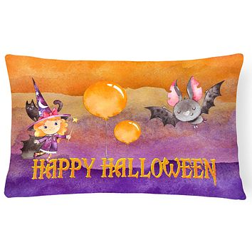 Halloween Little Witch and Bat Canvas Fabric Decorative Pillow BB7458PW1216