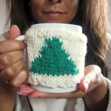 Christmas Tree Coffee Mug Cozy – Knitted Mug Cozy with Christmas Tree – Coworker Christmas Gift – Office Gift - Stocking Stuffer