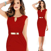 The 2014 newest women sleeveless knee length office dress work elegant ladies formal party pencil dress = 1932716100